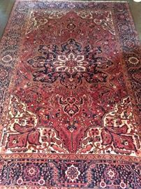 "GORGEOUS vintage Persian Heriz rug, hand woven, 100% wool face, measures 8' 9"" x 12' 1""."