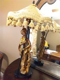Vintage Geisha girl lamp, with 1970's macrame shade - what a great marriage!