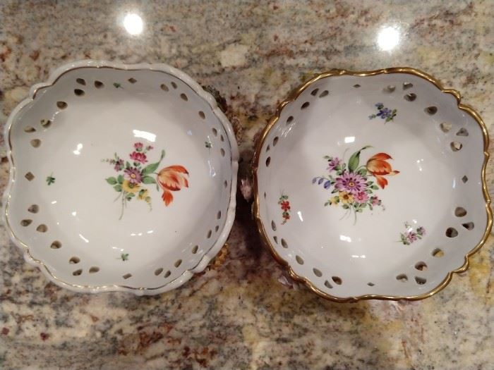 Pair of antique,  hand painted Von Schierholz German porcelain dishes, with applied flowers.