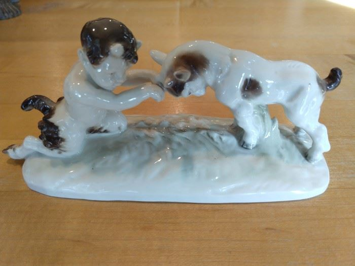 LOVE this vintage porcelain faun and goat figurine!