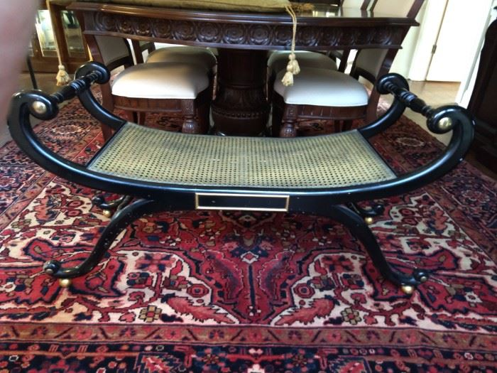 Vintage Venetian style wood and cane Baker settee.