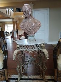 Antique French wrought iron & beveled white marble table, with antique terra cotta bust of Marie Antoinette.