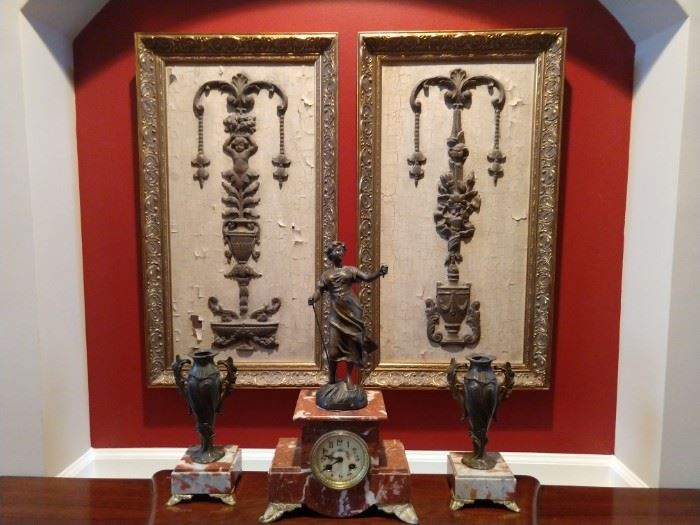 Antique French bronze/marble clock set, with pair of vintage John Richard's framed fragments.