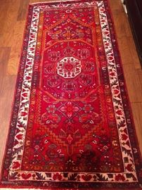"Vintage hand woven Persian Qashghai rug, 100% wool face, measures 3' 4"" x 6' 8""."