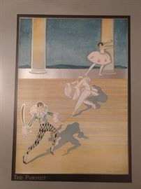 "This is a vintage lithograph  on silver metallic paper, by Phyllis Emmerson, ""The Pursuit""."