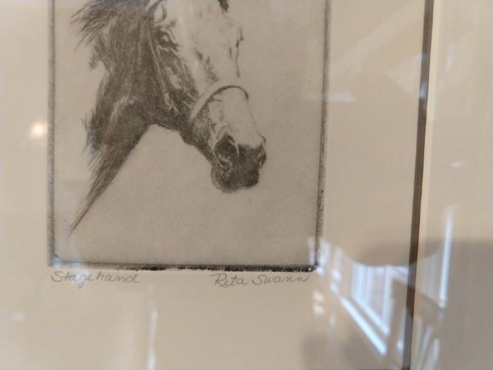 "Original pencil drawing ""Stage Hand"", by Rita Swann."