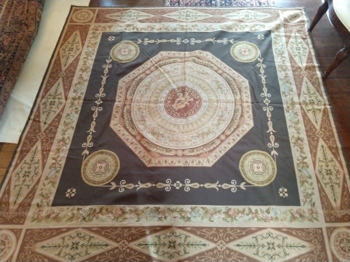 Hand woven French Aubusson rug, 100% wool Face, measures 8' square.