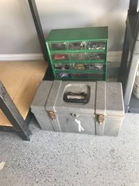 Tool box and cabinet with contents