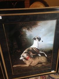 Framed art of the stately whippets (sighthound breed that originated in England)