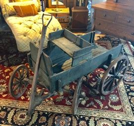 Very old wooden goat cart
