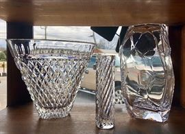 A collection of large WATERFORD, DENIZLI, & ORREFORS crystal vases