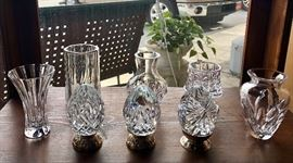 "A collection of WATERFORD crystal vases and 3 WATERFORD crystal ""Eggs"" on stands"