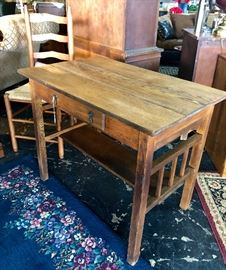 Antique Oak Table with one drawer and shelf on bottom