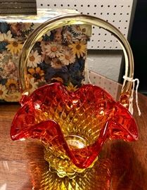 Small Orange to Gold Carnival Glass Basket
