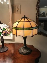 #3Radio Table w/ball & Claw Feet  33x22x29 $275.00  #4Green/Yellow Tiffany Style Lamp - Heavy $125.00  #5Purple/Pink Flower Tiffany Style Lamp  $75.00