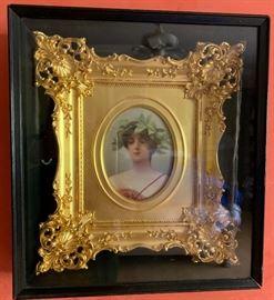 Elaborate gilt framed German hand painted porcelain plaque depicting Herkomer's Daphne