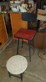Metal step stool and back stool