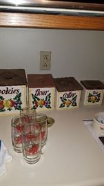 Canisters & Budweiser glasses