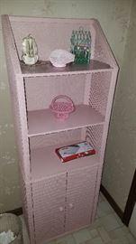 Pink wicker shelf