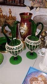 Green glass urns