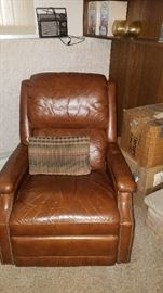 Well loved leather recliner