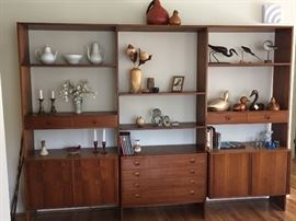 "Set of 3 large ""Danish Control Furniture Makers"" Bookcases crafted of teak. Great display space at top while offering lots of storage space at bottom of each section."