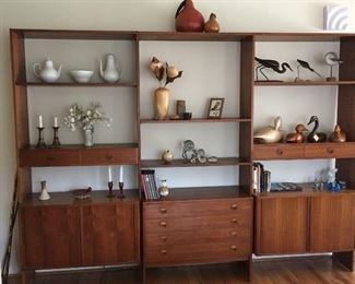 """Set of 3 large """"Danish Control Furniture Makers"""" Bookcases crafted of teak. Great display space at top while offering lots of storage space at bottom of each section."""