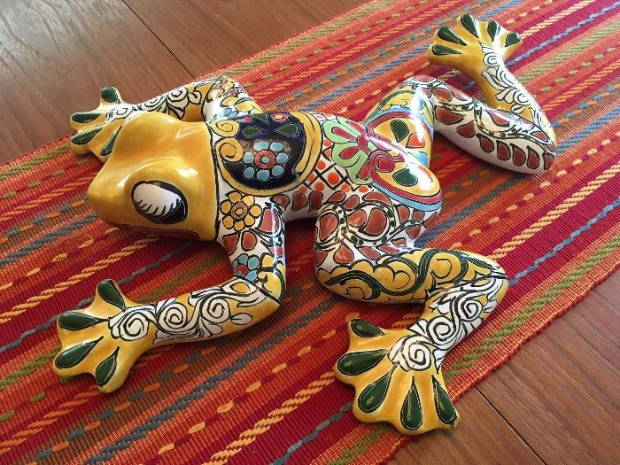 Brightly painted pottery Frog from Mexico