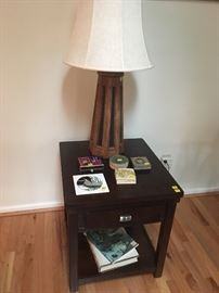 Pair of matching dark wood Side Tables and a mid-century style wooden Lamp with black inserts.