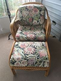 Rattan Side Chair and Ottoman with upholstered cushions