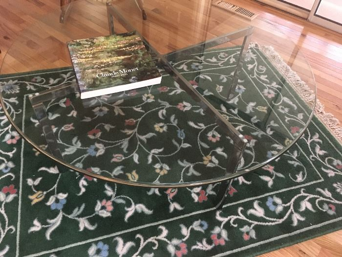 Mid-century Chrome & Glass Coffee Table and green Area Rug