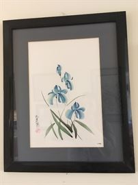 Blue Iris Chinese watercolor by artist C. Funki (signed)