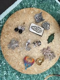 Variety of Sterling Jewelry, Button Covers & Money Clips