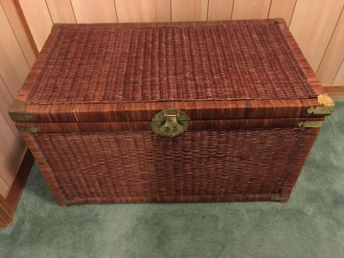 Large Wicker Storage Basket with brass details