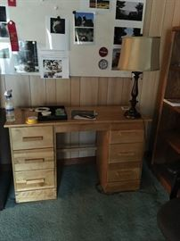 Small Oak Desk with 6 drawers