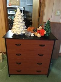 4-drawer two-color Dresser with some seasonal Decor