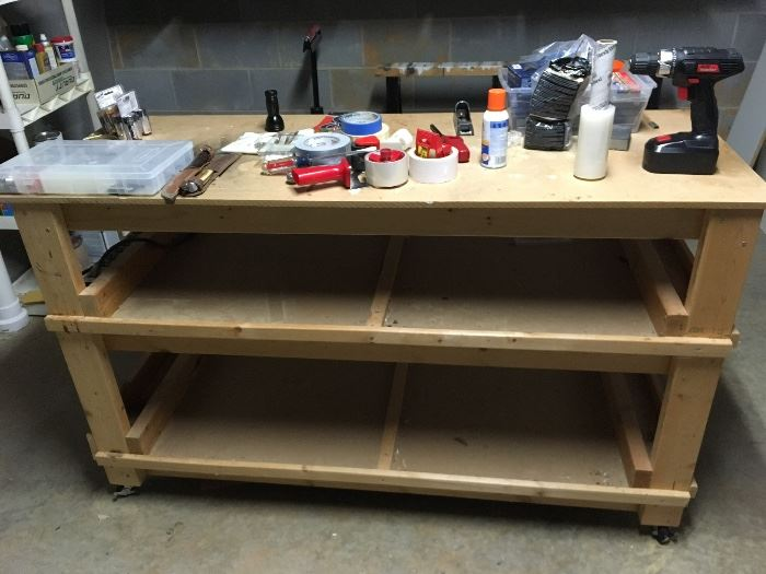 Large handmade Work Bench on rollers