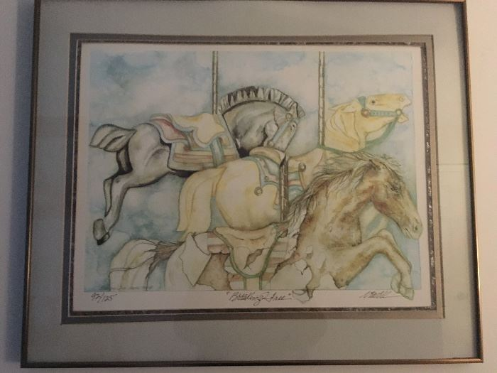 """""""Breaking Free"""" carousel horses by artist Newell (signed & numbered)"""