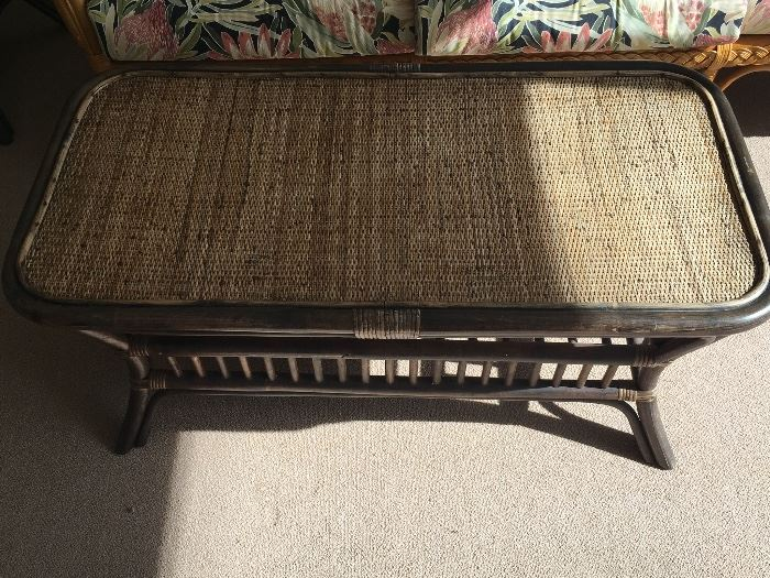 Rattan Coffee Table with woven top