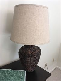 Large woven base Table Lamp