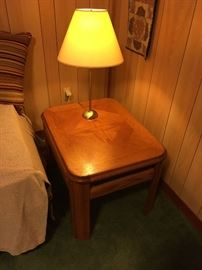 Pair of Oak Side Tables with pair of metal Table Lamps