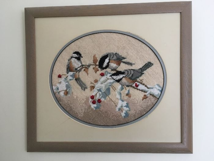 One of several framed Needlepoint Pictures