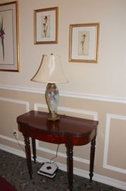 Console Table, Lamp and Art