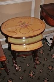 Round, Stenciled Stacking Tables