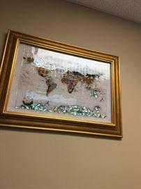 World Map with Semi-Precious Stones