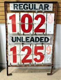 "Gas Price Sign With Metal Grate Back And Enamel Numbers And Letters 56""H x 37""W, With Extra Numbers, May Advertising Corp, TX"