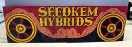 """Seedkem Hybrids Hand Painted Two-Panel Wood Seed Sign, Seedkem Headquarters Evansville, IN 30""""H x 96""""L"""
