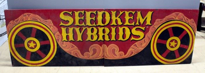 "Seedkem Hybrids Hand Painted Two-Panel Wood Seed Sign, Seedkem Headquarters Evansville, IN 30""H x 96""L"