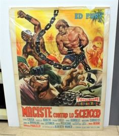 "1963 Maciste Contro Lo Sceicco With Ed Fury, Per La Compagnia Italiana Grandi Film SPA Roma Movie Original Poster 54.5""H x 39.5""W"