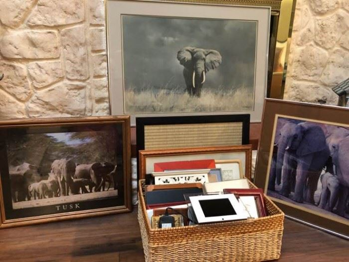 Assorted Frames with Elephant Framed Art